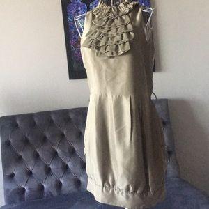 Olive Green/Gold 100% Silk Mini Dress